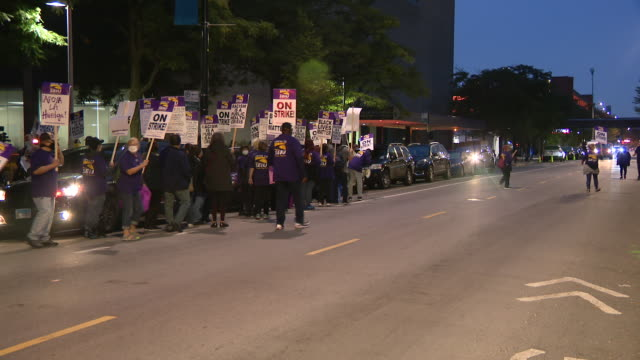 chicago, il, u.s. - ui health staff memebrs marching during strike on monday, september 14, 2020. - labor union stock videos & royalty-free footage