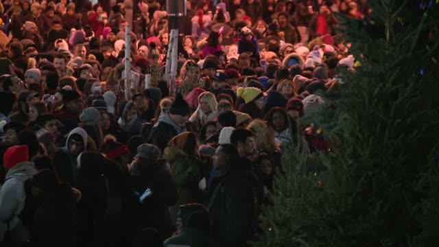 wgn chicago il us viewers wait in anticipation for chicago's christmas tree lighting ceremony in millennium park on friday november 22 2019 - クリスマスツリー点灯式点の映像素材/bロール