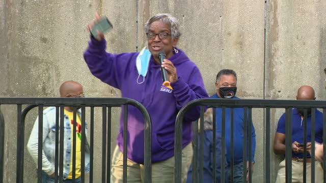 chicago, illinois,u.s. - woman giving speech on nurses' protest. negotiations resumed tuesday on day four of the university of illinois hospital... - orthographic symbol stock videos & royalty-free footage