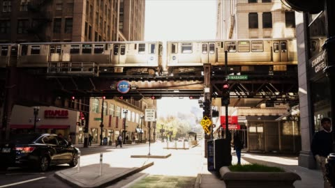 chicago l train - elevated train stock videos & royalty-free footage