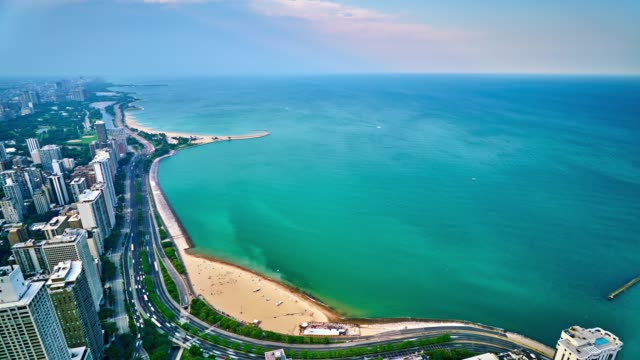 chicago. lake michigan. aerial view. - chicago illinois stock videos & royalty-free footage