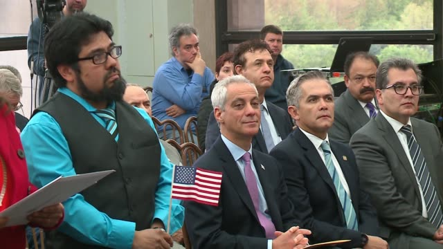 wgn chicago mayor rahm emanuel hosted a naturalization ceremony with special guest mexico city mayor miguel mancer on may 5 2017 - citizenship stock videos & royalty-free footage