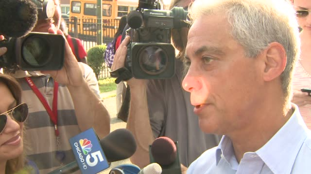 chicago mayor rahm emanuel talks to the press about the chicago public school's first day of the 2014 school year at william penn elementary school... - william penn stock videos and b-roll footage