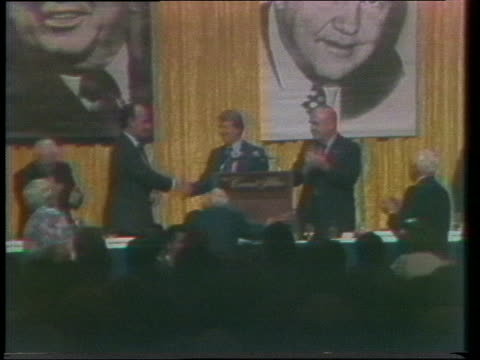 chicago mayor richard j. daley introduces democratic us presidential candidate jimmy carter at a fundraising banquet. - 1976 stock videos & royalty-free footage
