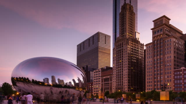 chicago millenium park and cloud gate day-to-night timelapse - bean stock videos and b-roll footage