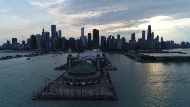 Chicago - Navy Pier - 4K aerial shot with drone
