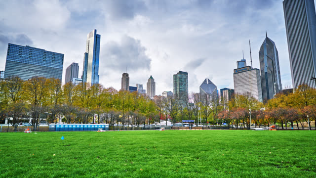 chicago. park and skyline - time stock videos & royalty-free footage