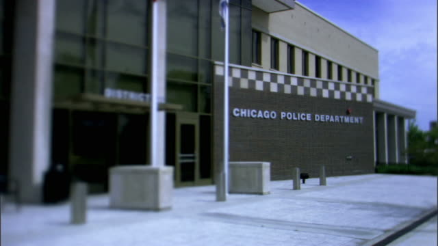 ms, selective focus, chicago police department building, chicago, illinois, usa - police station stock videos & royalty-free footage