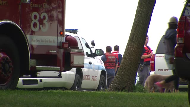 Chicago Police Department talks a man down from a 30 foot light tower on Foster Beach after threatening to jump for 4 hours Rescue Workers At Foster...