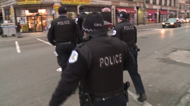 Chicago Police Officers On Foot Patrol on November 19 2013 in Chicago Illinois