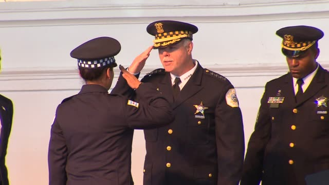 chicago police recruits gradated at navy pier with superintendent garry mccarthy and chicago mayor rahm emanuel. police recruits receive diploma at... - military recruit stock-videos und b-roll-filmmaterial