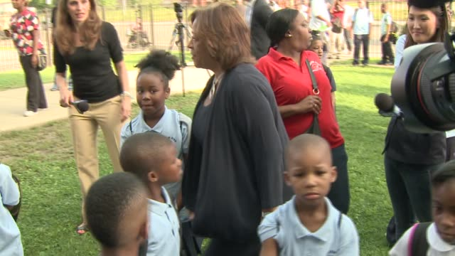 Chicago Public School CEO Barbara ByrdBennett talks with students on the first day of the 2014 school year at William Penn Elementary School on Aug 2...