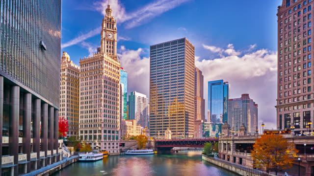 chicago river and cityscape - famous place stock videos & royalty-free footage