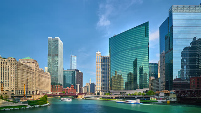 Chicago River with Skyline Cityscape