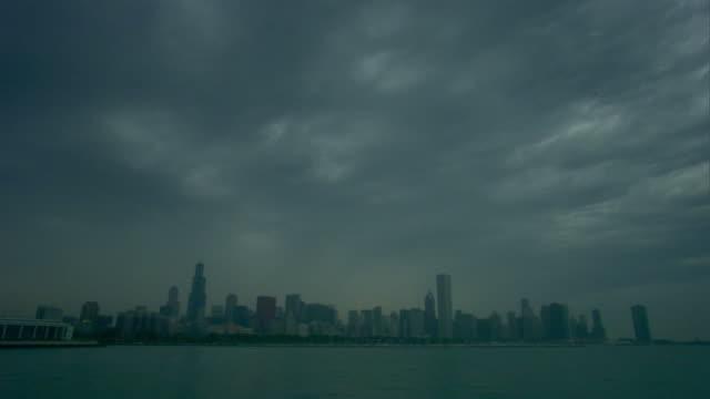 WS, Chicago skyline across Lake Michigan, Illinois, USA