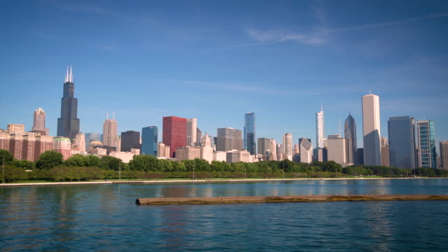 ws chicago skyline and lake michigan / chicago, usa - willis tower stock videos & royalty-free footage