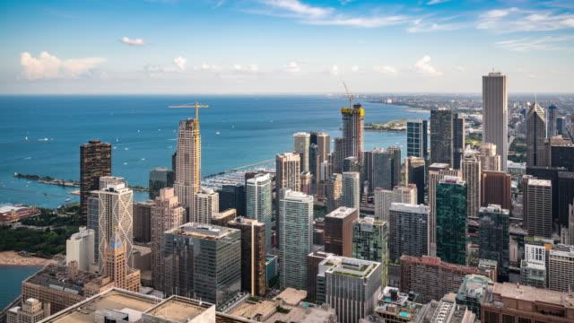 t/l ws ha シカゴ スカイラインとレイク ミシガン / シカゴ, アメリカ合衆国 - イリノイ州点の映像素材/bロール