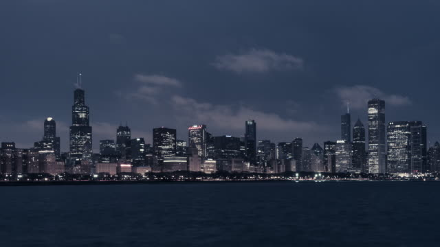 t/l tu chicago skyline at dawn, night to day transition / chicago, illinois - dawn to day stock videos & royalty-free footage