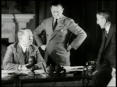 chicago skyline. colonel frank knox publisher of chicago daily news seated at his desk talking w/ two other men about 'printing the facts' turning... - willis tower stock videos & royalty-free footage
