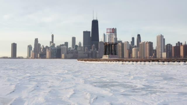 chicago skyline frozen - michigan avenue chicago stock videos & royalty-free footage