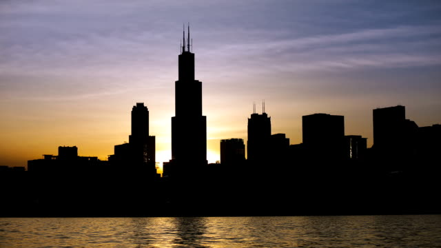 chicago skyline sunset on 2014.06.03 - willis tower stock videos and b-roll footage