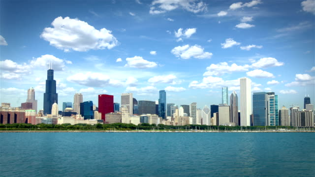 chicago skyline, usa  (2 shots) - chicago illinois stock videos & royalty-free footage