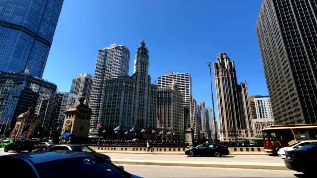 chicago skyline - michigan avenue bridge stock videos and b-roll footage