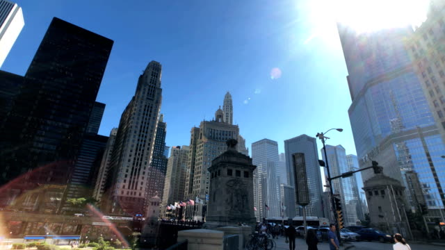 chicago skyline view from michigan avenue - michigan avenue bridge stock videos and b-roll footage