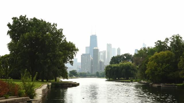 vídeos y material grabado en eventos de stock de vista del skyline de chicago - zoológico de lincoln park