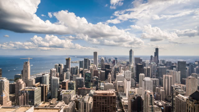 t/l ws ha chicago skyline with moving clouds / chicago, usa - chicago loop stock videos and b-roll footage