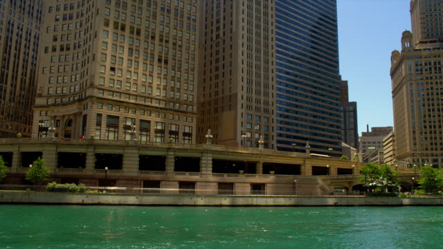chicago skyscrapers border the green chicago river. - river green stock videos & royalty-free footage