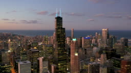 Chicago South Loop From Above - Twilight