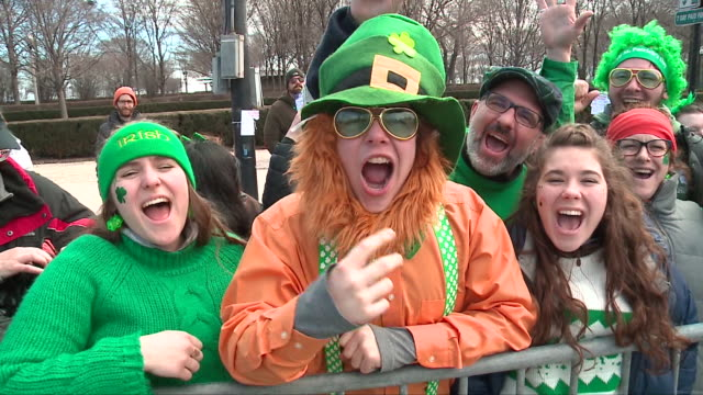 chicago st. patrick's day parade on march 17, 2018. - st. patrick's day stock videos & royalty-free footage