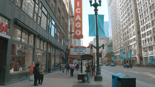 chicago theater - chicago illinois stock videos & royalty-free footage