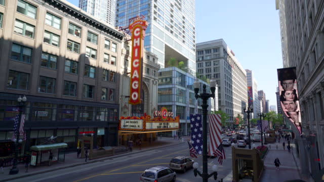 chicago theatre, chicago - theater marquee commercial sign stock videos & royalty-free footage