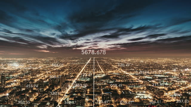 t/l zo chicago urban skyline and 5g network concept at night - aerial view stock videos & royalty-free footage