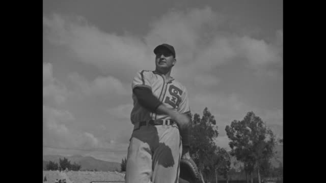chicago white sox pitchers bill dietrich thornton lee ted lyons eddie smith and johnny rigney at spring training in pasadena ca / low angle of... - spring training stock videos & royalty-free footage