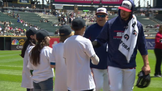 Chicago White Sox players and guests at UNICEF Kid Power Day At The Chicago White Sox at Guaranteed Rate Field on May 06 2018 in Chicago Illinois