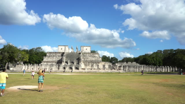 chichen itza fast motion from warriors temple to kukulkan pyramid - chichen itza stock videos and b-roll footage