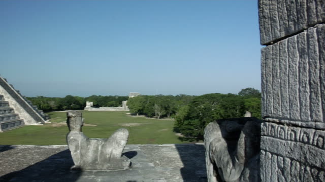 chichen itza pyramid and chac mool - chichen itza stock videos and b-roll footage