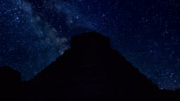 Chichen Itza time lapse at night with stars