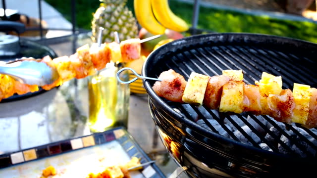 chicken and pineapple kebabs on a fiery grill - briquette stock videos & royalty-free footage