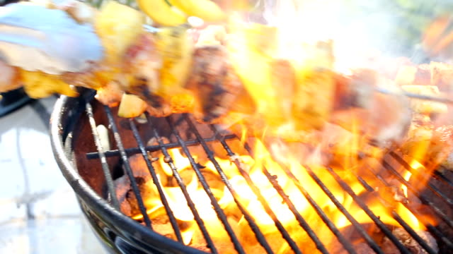 chicken and pineapple kebabs on a fiery grill - grilled stock videos & royalty-free footage