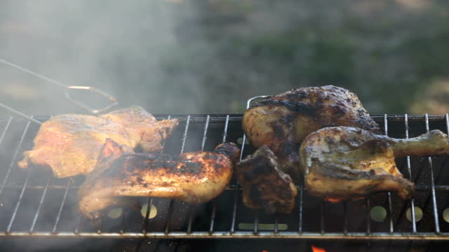 chicken barbecue - barbecue chicken stock videos and b-roll footage