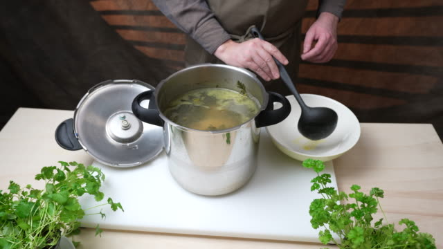 chicken broth - ladle stock videos & royalty-free footage