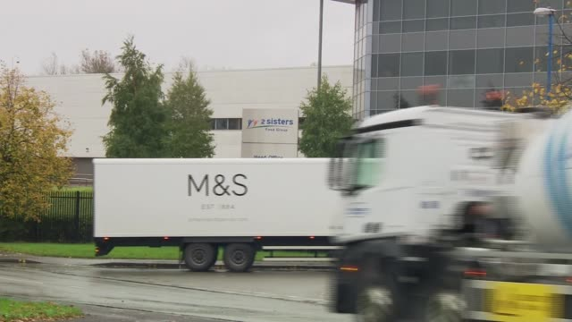 three supermarkets to suspend taking chicken from 2 sisters factory west midlands west bromwich ext marks and spencer lorry along outside 2 sisters... - west midlands stock-videos und b-roll-filmmaterial