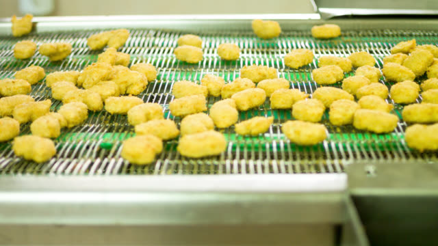 Chicken factory processing nuggets