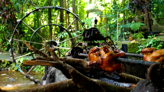 Chicken Grill with Rolling Bar that Rotated by Nature Water Turbine