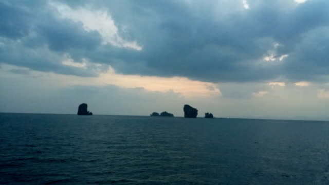 chicken island near railay beach in krabi province in the andaman sea in south thailand. - andaman sea stock videos & royalty-free footage