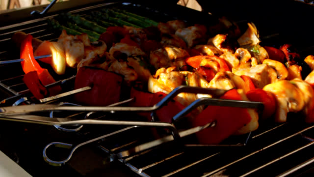chicken kebabs close up - barbecue chicken stock videos and b-roll footage